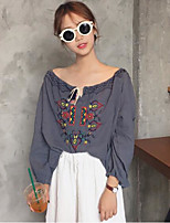 Women's Casual/Daily Simple Cute Spring Summer Blouse,Embroidered Boat Neck ½ Length Sleeve Polyester Medium