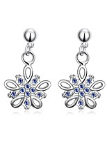 Elegant Silver Plated Blue Sapphire Crystal Waterdrop Bow-Knot Earrings for Wedding Party Women Accessiories