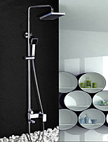 Contemporary Shower System Rain Shower Widespread Handshower Included with  Ceramic Valve Two Handles Two Holes for  Chrome , Shower