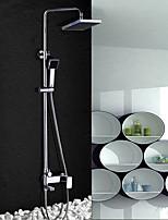 Zeitgenössisch Duschsystem Regendusche Breite spary Handdusche inklusive with  Keramisches Ventil Zwei Griffe Zwei Löcher for  Chrom ,
