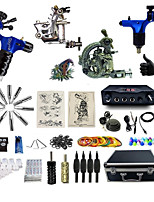 Complete Tattoo Kit 4 Machines G4A4R2Z12R6P Liner & Shader Dual LED Digital Power Supply