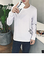 Men's Casual/Daily Sweatshirt Solid Round Neck Inelastic Cotton Short Sleeve All Seasons