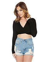 Tee-shirt Femme,Couleur Pleine Sortie Plage Vintage Printemps Eté Manches Longues Col en V Coton Modal Moyen