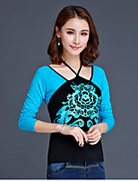 Women's Going out Casual/Daily Chinoiserie T-shirt,Floral Round Neck Long Sleeve Cotton