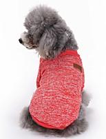 Gatos Perros Abrigos Camiseta Ropa para Perro Invierno Primavera/Otoño Un Color Adorable Moda Deportes Rojo Verde Azul Rosa Azul Claro