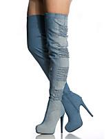 Femme-Extérieure Habillé Décontracté Soirée & Evénement-Bleu-Talon Aiguille-Confort Nouveauté club de Chaussures-Bottes-Tissu