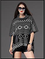 Damen Standard Pullover-Ausgehen Lässig/Alltäglich Solide Einfarbig Schachbrett Rundhalsausschnitt Langarm Kunst-Pelz Kunstseide Polyester