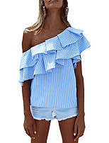 Women's Going out Party Sexy Sophisticated Shirt,Striped Off Shoulder Short Sleeve Rayon Polyester