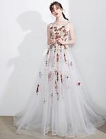 Торжественное мероприятие Платье А-силуэт Глубокий круглый вырез С длинным шлейфом Тюль с Аппликации