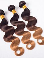 Âmbar Cabelo Brasileiro Onda de Corpo 6 meses 3 Peças tece cabelo