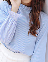 Women's Casual/Daily Simple Blouse,Solid Round Neck Long Sleeve Cotton Thin