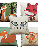 Set of 5 Red Fox Pattern  Linen Pillowcase Sofa Home Decor Cushion Cover (18*18inch)