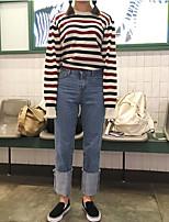 ulzzang корея институт ветра над США среди новых цветных полосок рыхлых вязких пуловеров женщин