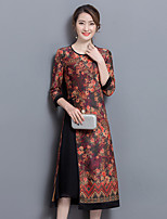Women's Casual/Daily Shift Dress,Floral Round Neck Midi ¾ Sleeve Cotton All Seasons Mid Rise Inelastic Medium