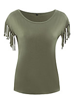 Women's Going out Casual/Daily Simple Sophisticated T-shirt,Solid Round Neck Short Sleeve Rayon