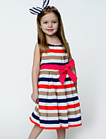 Girl's Beach Striped Rainbow Dress,Polyester Summer Sleeveless