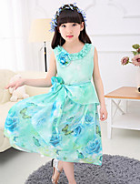 Girl's Beach Floral Dress,Polyester Summer Sleeveless
