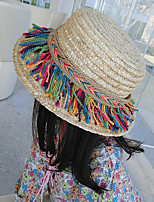 Girl's Lovely Fashionable Elegant Green Rainbow Hemp Rope Sun Bask In A Straw Hat