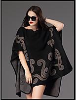 Для женщин На каждый день Простое Длинный Пуловер С принтом,Круглый вырез Рукав ½ Акрил Осень Средняя Неэластичная