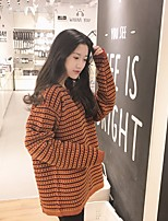 Women's Casual/Daily Cute Regular Pullover,Solid Round Neck Long Sleeve Acrylic Spring Medium Micro-elastic