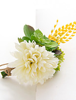 Wedding Flowers Free-form Peonies Boutonnieres Wedding Party/ Evening White Satin
