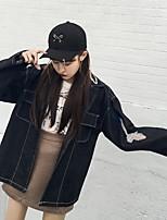 Women's Casual/Daily Simple Spring Denim Jacket,Print Shirt Collar Long Sleeve Regular Cotton