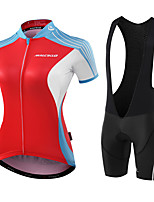 MALCIKLO® Cycling Jersey with Bib Shorts Women's Short Sleeve BikeBreathable Anatomic Design Moisture Permeability Reflective Strips