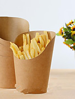 10Pcs 12Oz Disposable  Kraft Paper French Fries Cup Fried Chicken Wings Popcorn Dessert Storage Box