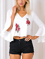 Women's Going Out Formal Work Sexy Vintage Summer Fall T Shirt Embroidery V Neck Long Sleeve Ployester White/Black