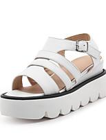 Sandals Spring Summer Fall Slingback PU Office & Career Party & Evening Dress Wedge Heel Buckle Black Pink White Beige
