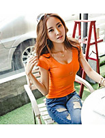 Women's Casual/Daily Sexy T-shirt,Solid Round Neck Short Sleeve Cotton