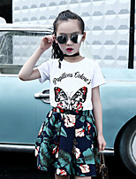 Girls' Casual/Daily Solid Print Sets,Cotton Rayon Summer Sleeveless Clothing Set