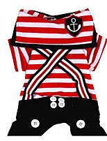 Hunde T-shirt Hundekleidung Sommer Streifen Niedlich Modisch Lässig/Alltäglich Schwarz Rot