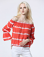 Women's Going out Casual/Daily Sexy Summer Fall T-shirt,Striped Boat Neck Sleeveless Silk Opaque