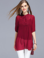 Women's Going out Sophisticated Summer T-shirt,Embroidered Stand ½ Length Sleeve Silk Polyester Thin