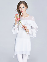 EWUS/Women's Going out Casual/Daily Street chic Sophisticated A Line DressSolid Round Neck Above Knee  Sleeve Silk Spring Summer Mid Rise