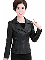 Women's Casual/Daily Simple Spring Leather Jacket,Solid Notch Lapel Long Sleeve Short Others