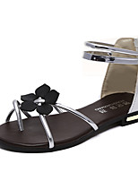 Women's Sandals Summer Mary Jane Leatherette Outdoor Dress Casual Flat Heel Zipper Flower Walking