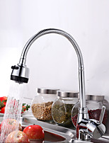 Contemporary Standard Spout Vessel Widespread with  Ceramic Valve Single Handle One Hole for  Chrome , Kitchen faucet