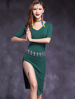 Belly Dance Dresses Women's Performance Modal Split Front 1 Piece Half Sleeve Natural Dress