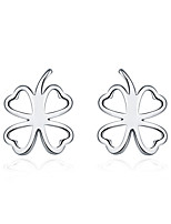 Concise Silver Plated Hollow Clover Stud Earrings for Wedding Party Women Jewelry Accessiories
