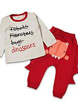Мальчики Наборы На каждый день Праздник Для школы Хлопок Животные принты Осень Длинный рукав Набор одежды