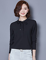 Sign # 6127 2017 spring new Korean lace chiffon shirt female long-sleeved shirt Slim shirt