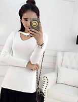 Women's Going out Casual/Daily Simple Long Cardigan,Solid V Neck Long Sleeve Cotton Fall Winter Medium Inelastic