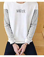 Men's Going out Sweatshirt Letter Round Neck Micro-elastic Polyester Long Sleeve Spring