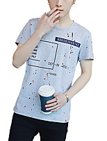 Men's Plus Size Casual/Daily Beach Vintage Street chic Active Summer T-shirt,Solid Print Round Neck Short Sleeve Cotton SpandexThin