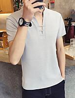 Slim cor sólida v-neck t-shirt bottoming camisa masculino café curto