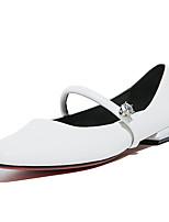 Feminino-Rasos-Sapatos clube-Rasteiro-Branco Verde Claro-Pele-Escritório & Trabalho Social Festas & Noite