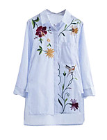 Women's Casual/Daily Sexy Simple Shirt,Floral Shirt Collar ¾ Sleeve Polyester