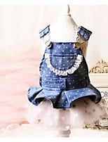 Cães Vestidos Roupas para Cães Verão Princesa Fofo Casual Azul